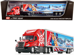 "2018 Freightliner Cascadia High-Roof Sleeper Cab with 53' Wabash Reefer Refrigerated Trailer with Skirts ""Quest Trucking"" 1/64 Diecast Model by DCP/First Gear"