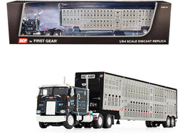 "Peterbilt 352 COE 110"" Sleeper Cab with Wilson Livestock Tandem-Axle Trailer ""Kreilkamp Trucking"" Black and Silver 1/64 Diecast Model by DCP/First Gear"