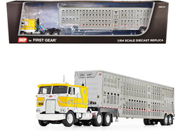 "Peterbilt 352 COE 110"" Sleeper Cab with Wilson Livestock Tandem-Axle Trailer ""Kreilkamp Trucking"" Yellow and Silver 1/64 Diecast Model by DCP/First Gear"