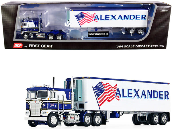 "Kenworth K100 COE Flattop with 40' Vintage Reefer Refrigerated Trailer ""Alexander Trucking"" Blue and White #36 in a ""Fallen Flag Series"" 1/64 Diecast Model by DCP/First Gear"