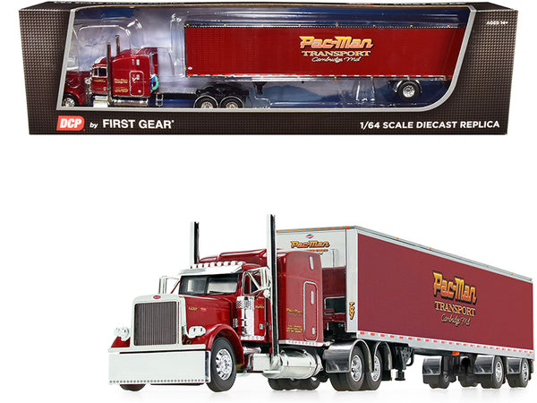 "Peterbilt 379 63"" Mid-Roof Sleeper Cab with 53' Utility Dry Goods Spread-Axle Trailer ""Pac-Man Transport"" Burgundy 1/64 Diecast Model by DCP/First Gear"