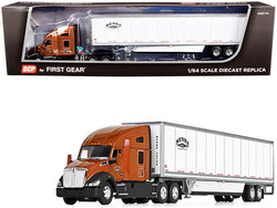 "Kenworth T680 72"" High-Roof Sleeper Cab with 53' Wabash DuraPlate Dry Goods Trailer with Skirts ""Menke Trucking"" Brown Metallic and White 1/64 Diecast Model by DCP/First Gear"