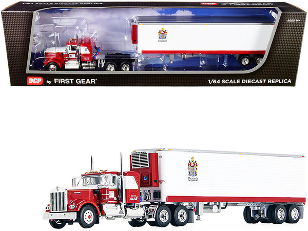 "Kenworth W900A with 36"" Flattop Sleeper Cab and 40' Vintage Reefer Refrigerated Trailer ""C.R. England"" Red and White 1/64 Diecast Model by DCP/First Gear"