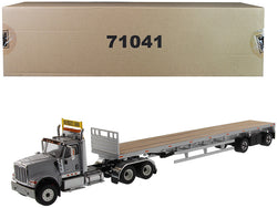 "International HX520 Tandem Tractor Light Gray with 53' Flat Bed Trailer 'Transport Series"" 1/50 Diecast Model by Diecast Masters"