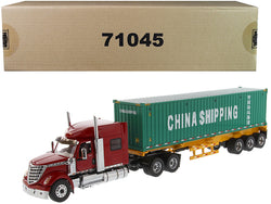 "International LoneStar Sleeper Cab Red with Skeleton Trailer and 40' Dry Goods Sea Container ""China Shipping"" Green ""Transport Series"" 1/50 Diecast Model by Diecast Masters"