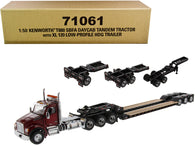 "Kenworth T880 SBFA Day Cab Tandem Tractor with XL 120 Low-Profile HDG Trailer with 2 Boosters and Jeep Radiant Red and Black ""Transport Series"" 1/50 Diecast Model by Diecast Masters"