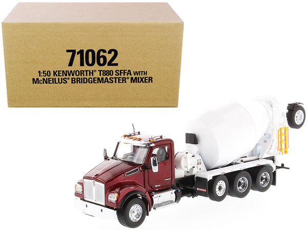Kenworth T880 SFFA with McNeilus Bridgemaster Mixer Truck Radiant Red and White 1/50 Diecast Model by Diecast Masters