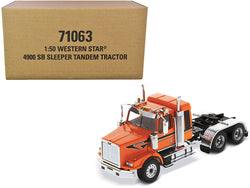 "Western Star 4900 SB Tandem Sleeper Cab Truck Tractor Orange with Black Stripes ""Transport Series"" 1/50 Diecast Model by Diecast Masters"