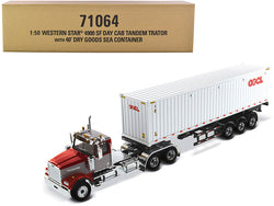 "Western Star 4900 SF Tandem Day Cab Truck Tractor Red and Gray with 40' Dry Goods Sea Container ""OOCL"" White ""Transport Series"" 1/50 Diecast Model by Diecast Masters"