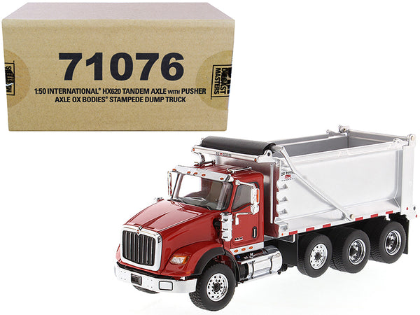 "International HX620 Tandem Axle with Pusher Axle OX Stampede Dump Truck Red and Chrome ""Transport Series"" 1/50 Diecast Model by Diecast Masters"