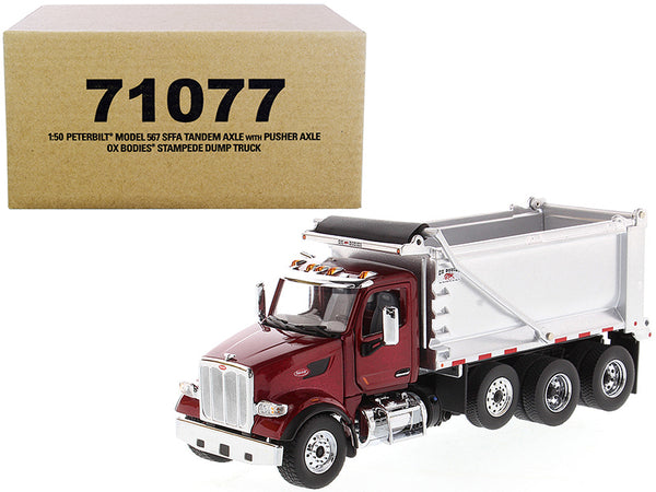 "Peterbilt 567 SFFA Tandem Axle with Pusher Axle OX Stampede Dump Truck Red and Chrome ""Transport Series"" 1/50 Diecast Model by Diecast Masters"