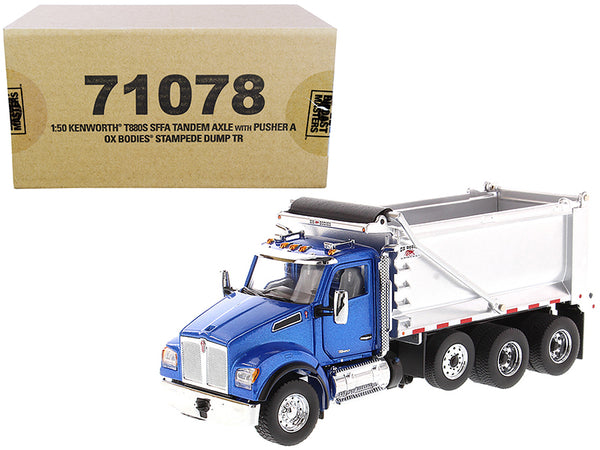 "Kenworth T880S SFFA Tandem Axle with Pusher Axle OX Stampede Dump Truck Blue and Chrome ""Transport Series"" 1/50 Diecast Model by Diecast Masters"