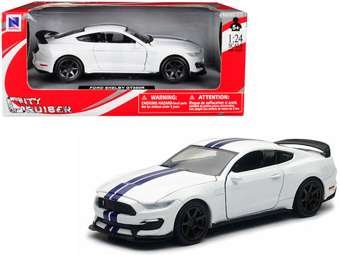 Ford Mustang Shelby GT350R White with Blue Stripes 1/24 Diecast Model Car by New Ray