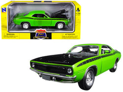 1970 Plymouth Cuda Green with Black 1/25 Diecast Model Car by New Ray