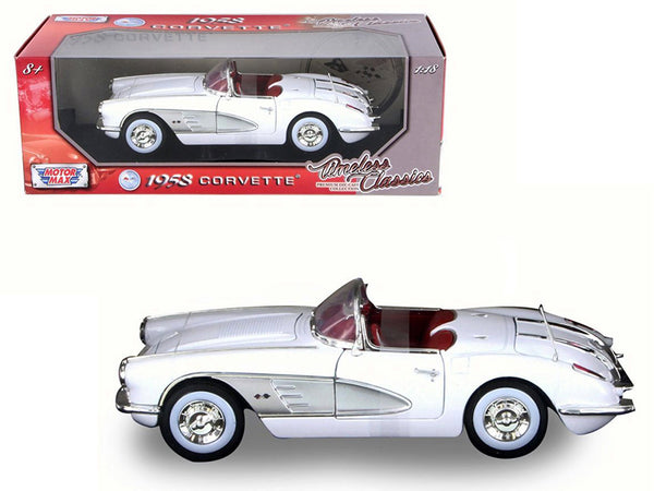 "1958 Chevrolet Corvette White ""Timeless Classics"" 1/18 Diecast Model Car by Motormax"