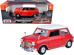 "1961-1967 Morris Mini Cooper Red with White Top ""Timeless Legends"" 1/18 Diecast Model Car by Motormax"