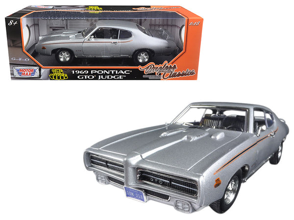 "1969 Pontiac GTO Judge Silver ""Timeless Classics"" 1/18 Diecast Model Car by Motormax"