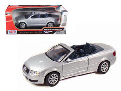 Audi A4 Silver Convertible 1/18 Diecast Model Car by Motormax