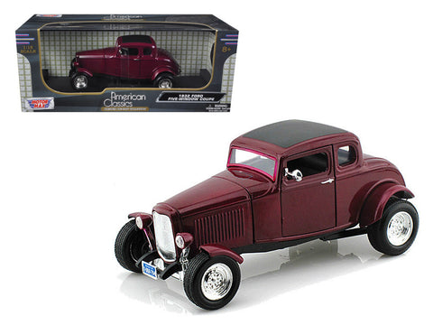 "1932 Ford ""Five Window"" Burgundy Coupe 1/18 Diecast Model Car by Motormax"