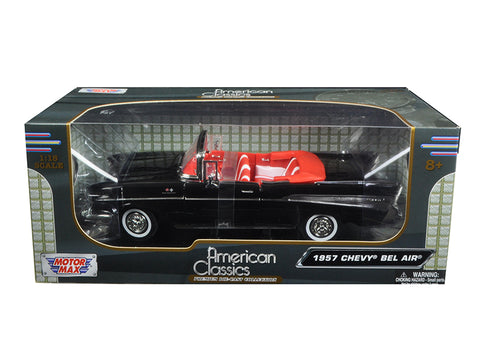 1957 Chevrolet Bel Air Convertible Black with Red Interior 1/18 Diecast Model Car by Motormax