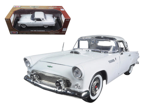 "1956 Ford Thunderbird White ""Timeless Classics"" 1/18 Diecast Model Car by Motormax"