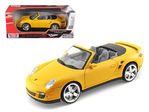 Porsche 911 (997) Turbo Convertible Yellow 1/18 Diecast Model Car by Motormax