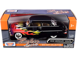 "1949 Mercury Coupe Black with Flames ""Timeless Legends"" Series 1/24 Diecast Model Car by Motormax"