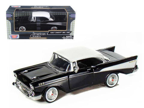 1957 Chevrolet Bel Air Black 1/24 Diecast Model Car by Motormax