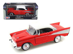 1957 Chevrolet Bel Air Red with White Top 1/24 Diecast Model Car by Motormax