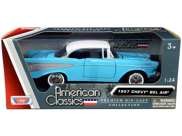 "1957 Chevrolet Bel Air Light Blue with White Top ""American Classics"" 1/24 Diecast Model Car by Motormax"