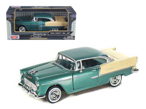 1955 Chevrolet Bel Air Green 1/24 Diecast Model Car by Motormax