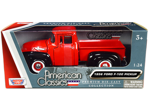 "1956 Ford F-100 Pickup Truck Red and Black with Whitewall Tires ""American Classics"" 1/24 Diecast Model by Motormax"