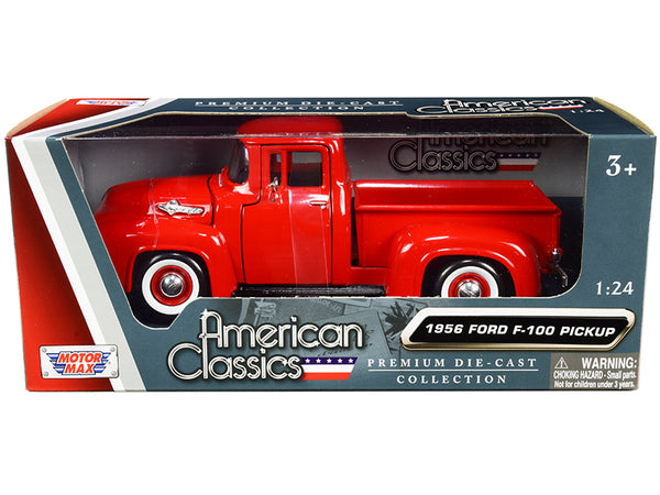 "1956 Ford F-100 Pickup Truck Red with Whitewall Tires ""American Classics"" 1/24 Diecast Model by Motormax"