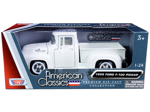 "1956 Ford F-100 Pickup Truck White with Whitewall Tires ""American Classics"" 1/24 Diecast Model by Motormax"