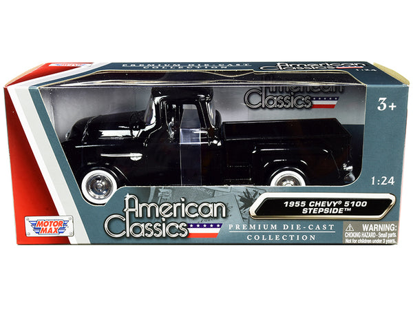 "1955 Chevrolet 5100 Stepside Pickup Truck Black with Whitewall Tires ""American Classics"" 1/24 Diecast Model by Motormax"