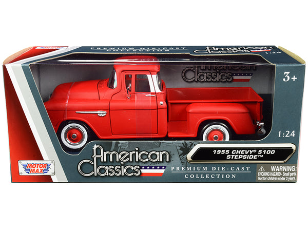 "1955 Chevrolet 5100 Stepside Pickup Truck Matte Red with Whitewall Tires ""American Classics"" 1/24 Diecast Model by Motormax"