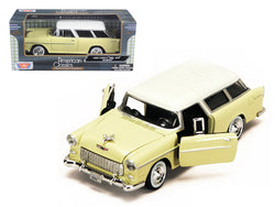 1955 Chevrolet Bel Air Nomad Yellow with White Top 1/24 Diecast Model Car by Motormax