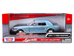 "1964 1/2 Ford Mustang Metallic Light Blue ""Timeless Legends"" 1/24 Diecast Model Car by Motormax"
