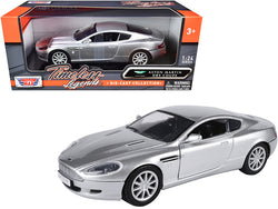 "Aston Martin DB9 Coupe Silver Metallic ""Timeless Legends"" 1/24 Diecast Model Car by Motormax"
