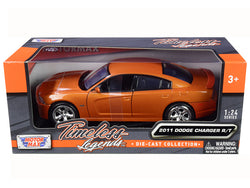 2011 Dodge Charger R/T Hemi Metallic Orange 1/24 Diecast Model Car by Motormax