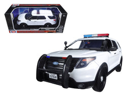 2015 Ford PI Utility Interceptor Plain White Police Car with Light Bar 1/18 Diecast Model Car by Motormax