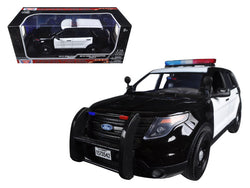 2015 Ford PI Utility Interceptor Black & White Police Car with Light Bar 1/18 Diecast Model Car by Motormax