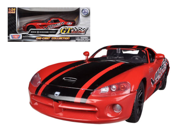 2003 Dodge Viper SRT-10 Red #8 GT Racing 1/24 Diecast Model Car by Motormax