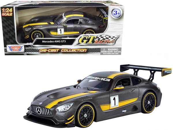 "Mercedes AMG GT3 #1 Matte Gray with Yellow Stripes ""GT Racing"" 1/24 Diecast Model Car by Motormax"