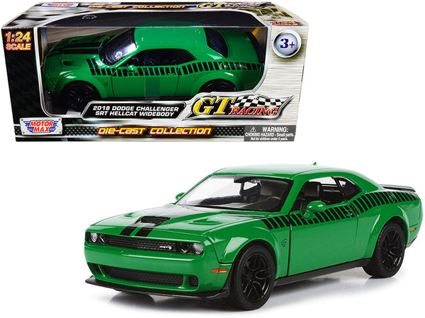 "2018 Dodge Challenger SRT Hellcat Widebody Green with Black Stripes ""GT Racing"" Series 1/24 Diecast Model Car by Motormax"