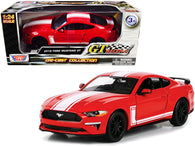 "2018 Ford Mustang GT 5.0 Red with White Stripes ""GT Racing"" Series 1/24 Diecast Model Car by Motormax"