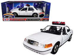 2001 Ford Crown Victoria Police Car Plain White with Flashing Light Bar, Front and Rear Lights and Sound 1/18 Diecast Model Car by Motormax