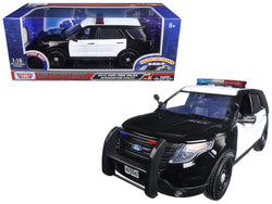 2015 Ford Police Interceptor Utility Black and White with Flashing Light Bar, Front and Rear Lights and 2 Sounds 1/18 Diecast Model Car  by Motormax