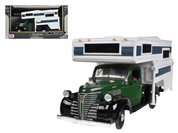 1941 Plymouth Pickup Truck Green With Camper 1/24 Diecast Model by Motormax
