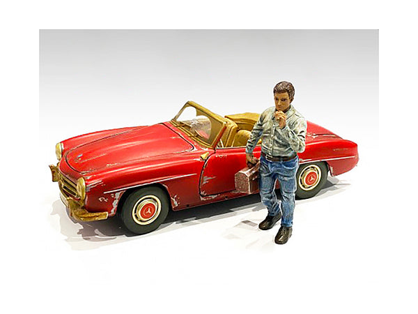 """Auto Mechanic"" Chain Smoker Larry Figure for 1/24 Scale Models by American Diorama"